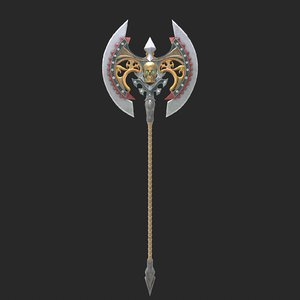 3D fantasy axe 1 modeled
