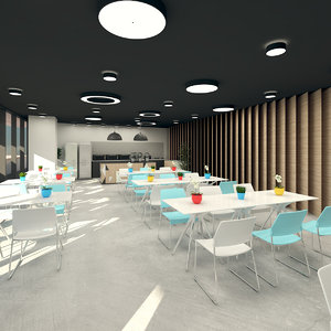 3D cafeteria terrace garden model