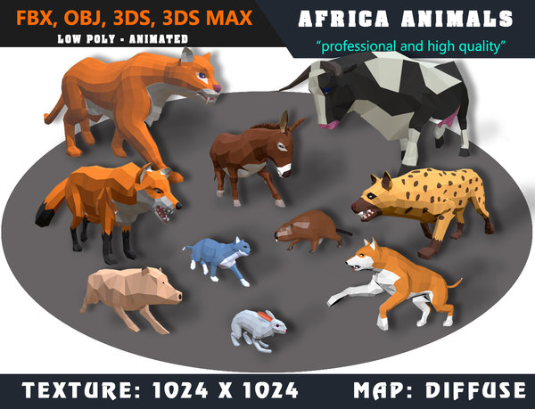 3D animals africa dog cartoon