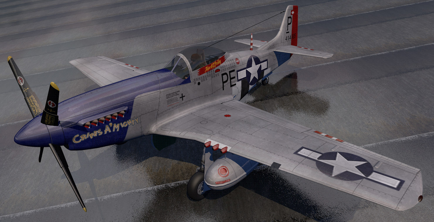 3D plane north american p-51d mustang