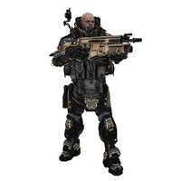 3D sci-fi soldier pose 2
