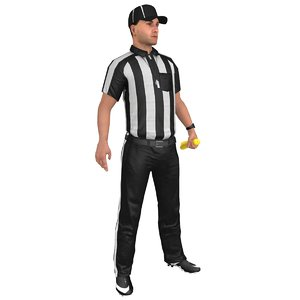 rigged football referee 4 3D
