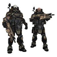 3D sci-fi soldier poses sci fi model