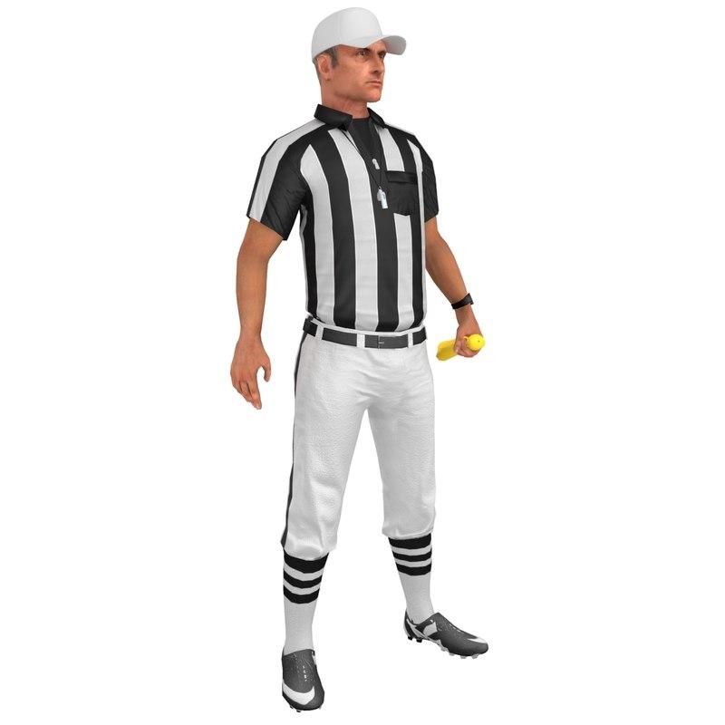 3D model rigged football referee