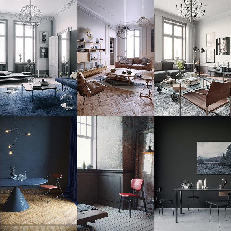 interior scenes render corona model