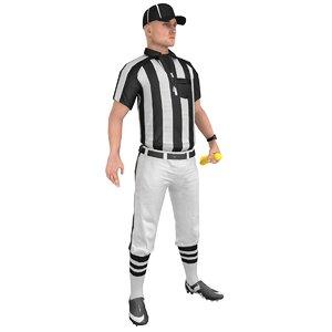 3D rigged football referee model