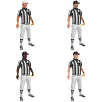 pack rigged football referee 3D model