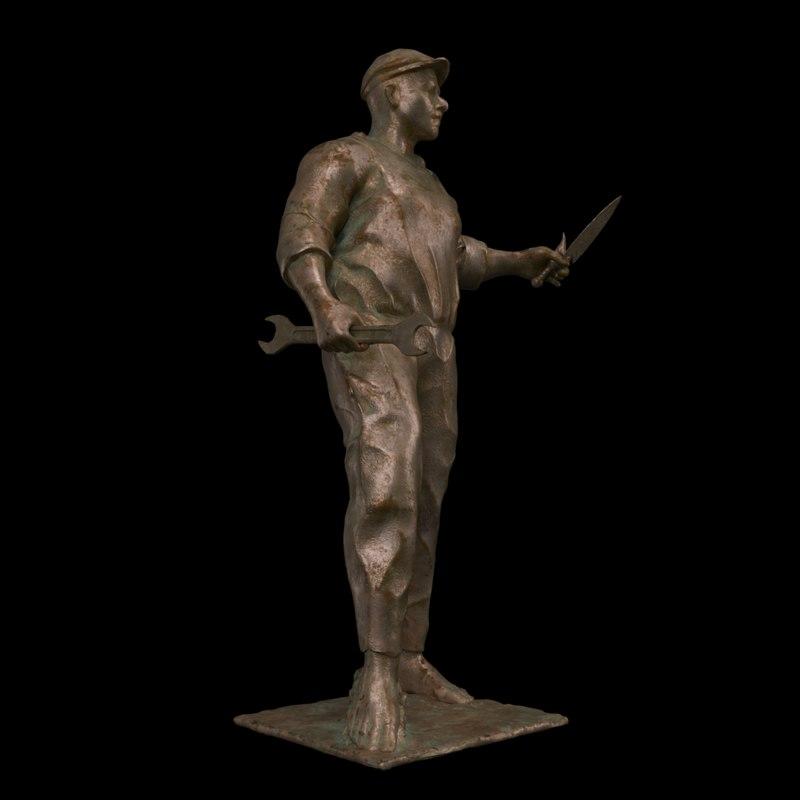 worker statue 3D model