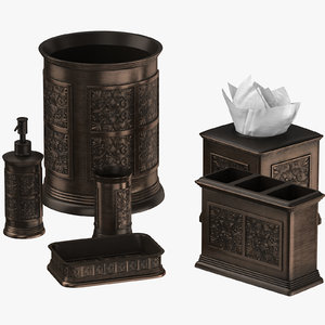 3D model classical bathroom decor set