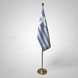 greek flag pole 3D