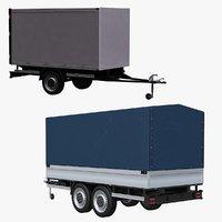3D small trailer cargo model
