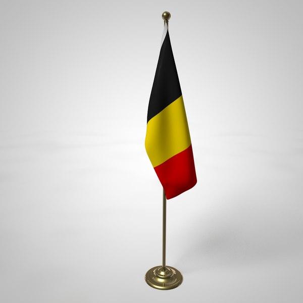 belgium flag pole 3D model
