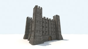 3D medieval fortress interior exterior