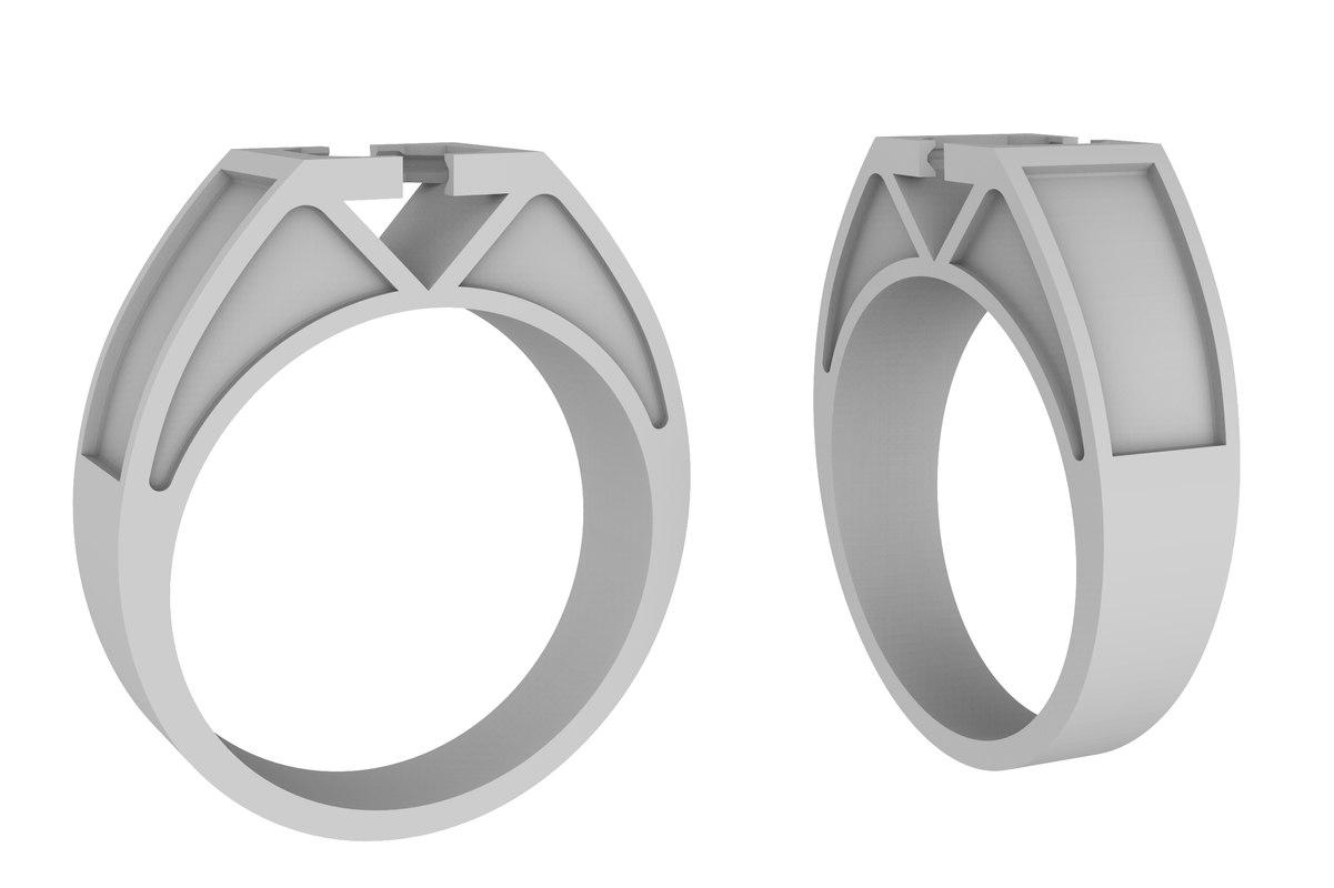 gold ring stone enamel 3D model