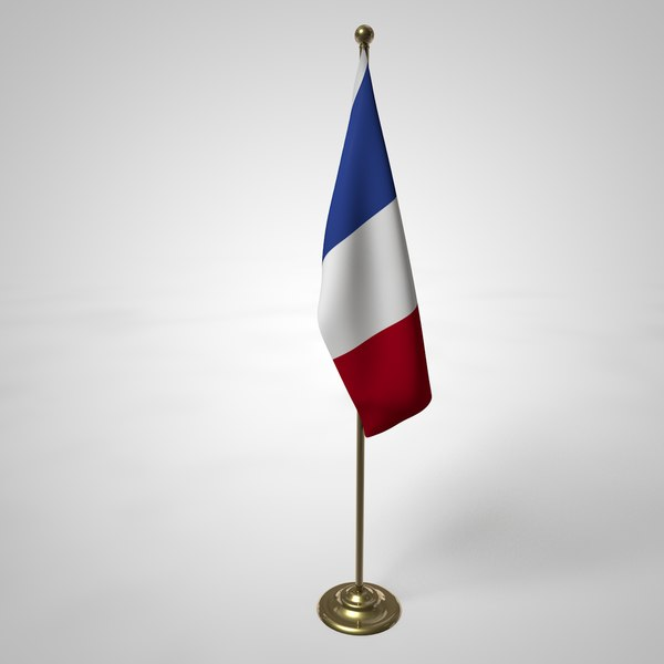 french flag pole 3D model