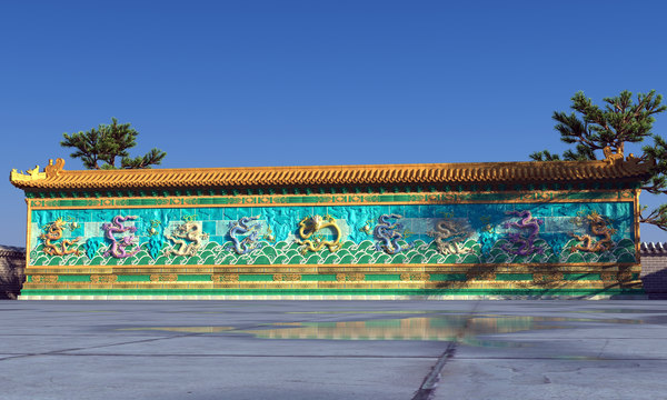 chinese dragon wall model