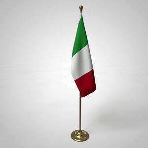 3D italian flag pole model
