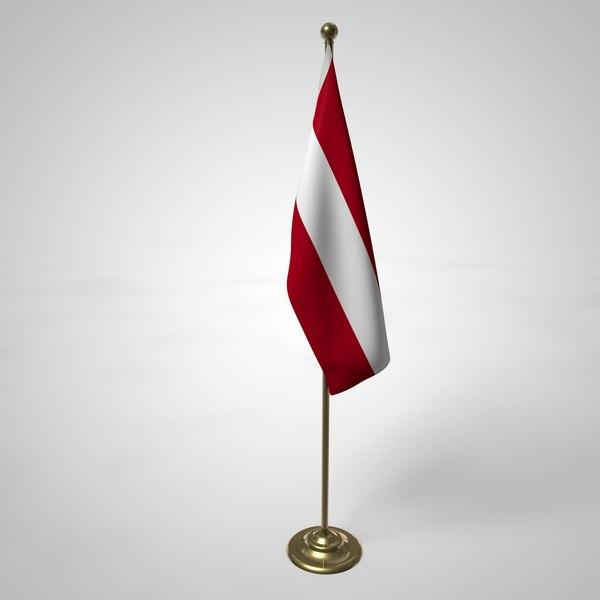 3D austria flag pole model