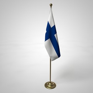 finland flag pole 3D model