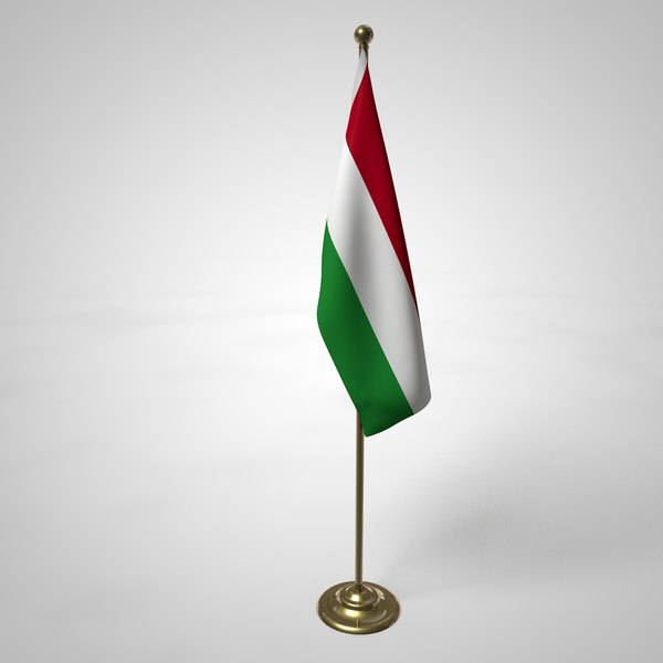 hungary flag pole 3D model