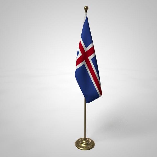 iceland flag pole 3D model
