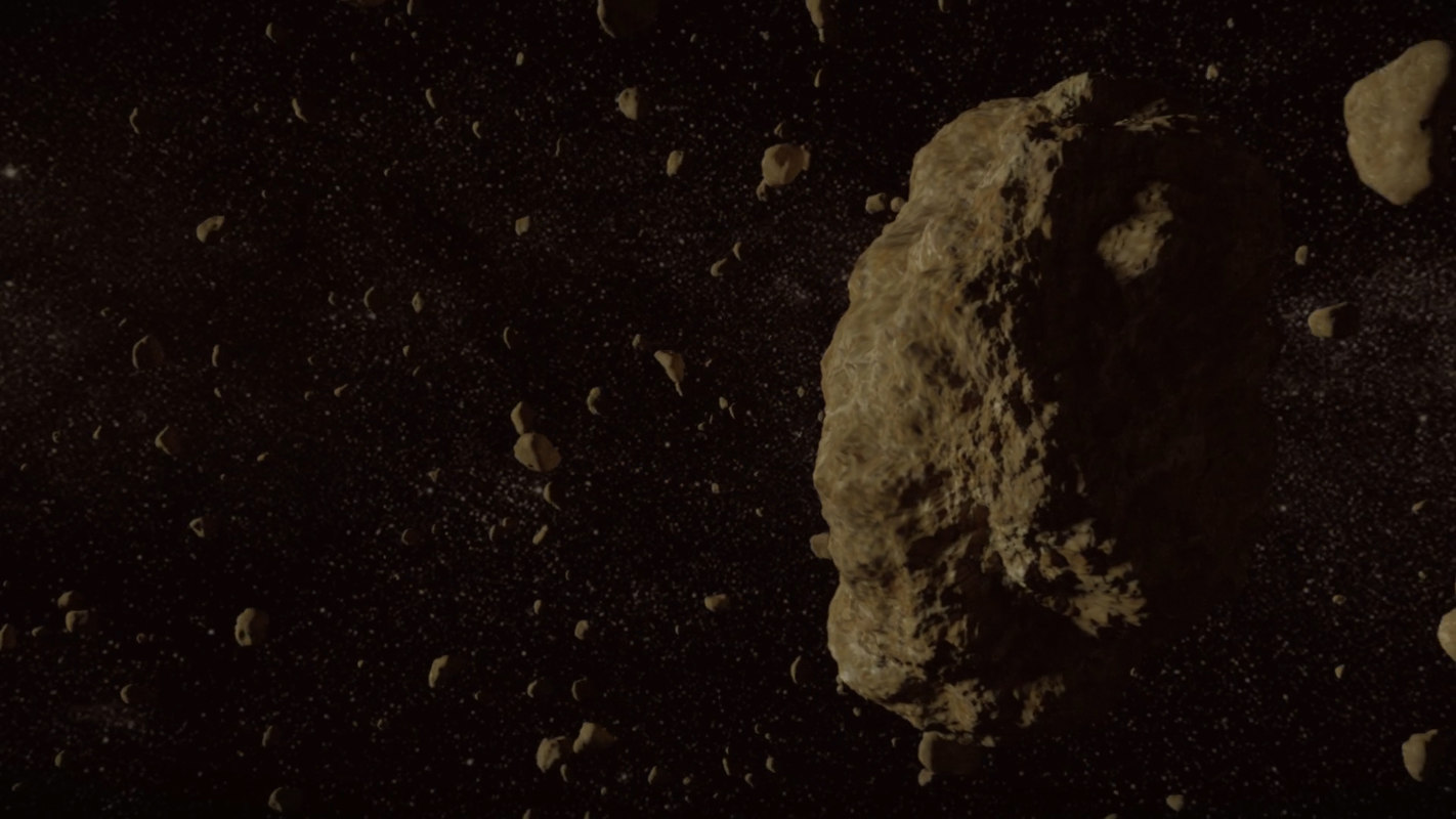 3D model asteroid floating space