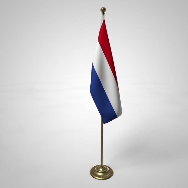 3D netherlands flag pole