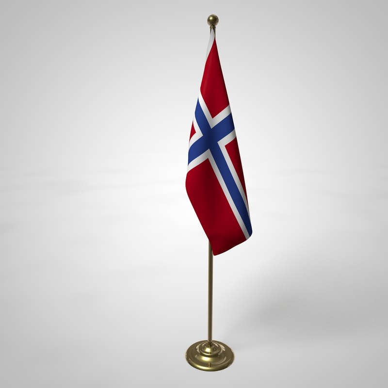 norway flag pole 3D model