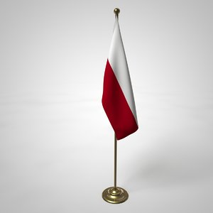 polish flag pole 3D