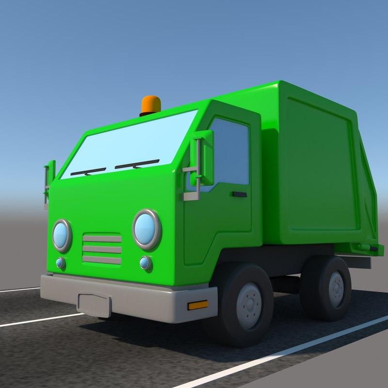 3D cartoon garbage truck
