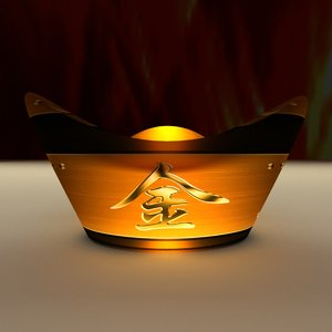 3D chinese gold ingot