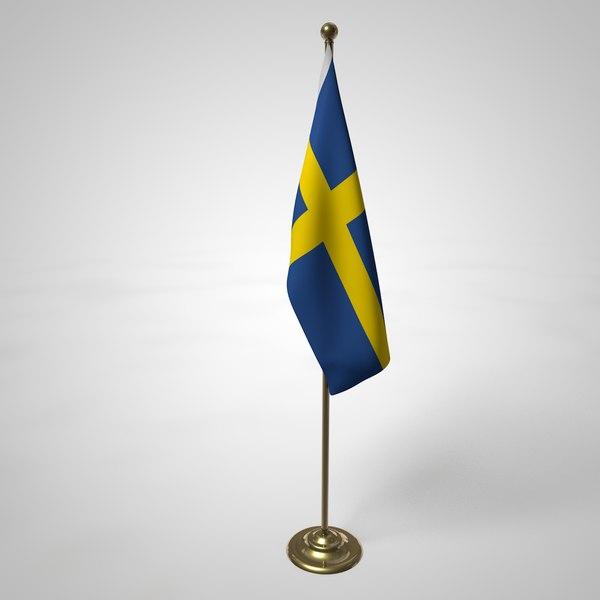 sweden flag pole 3D model