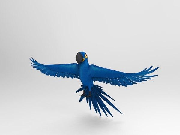 3D bird parrot blue ar