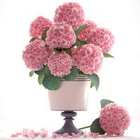 bouquet pink hydrangea 3D model
