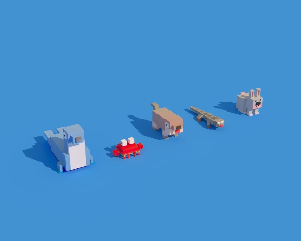 3D animals seal crab rabbit model