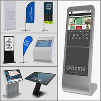 Electronic Kiosks and Banner Stands 3D Models Collection
