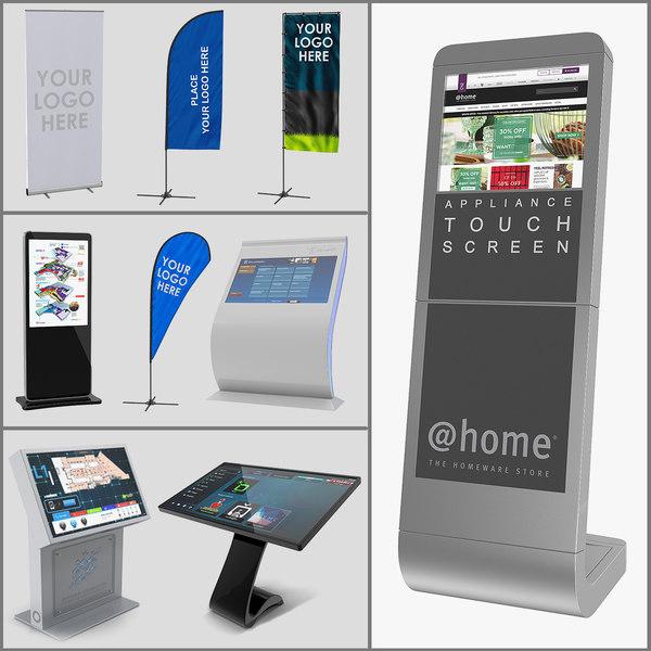 3D electronic kiosks banner stands model