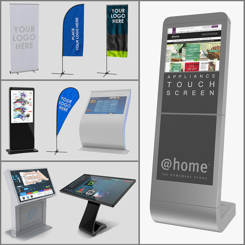 3d Electronic Kiosks Banner Stands Model Turbosquid 1301644