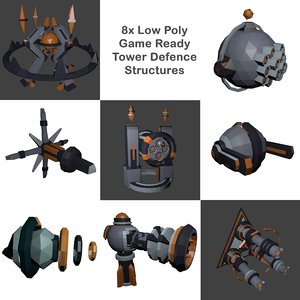 low-poly tower defence base 3D model
