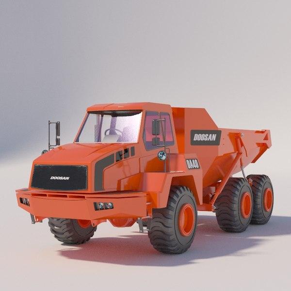 articulated dump truck 3D model