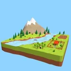cartoon mountain landscape scene 3D model