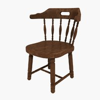wooden chair 3D