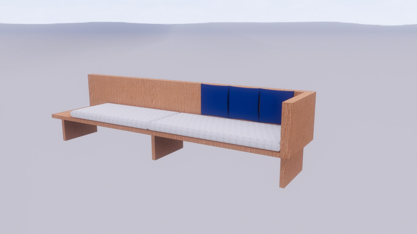 timber day bed 3D model