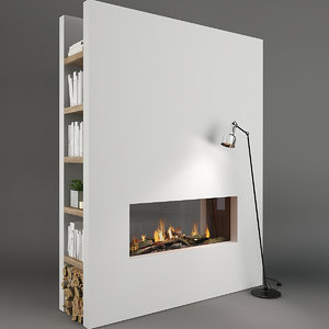 3D fireplace decor model