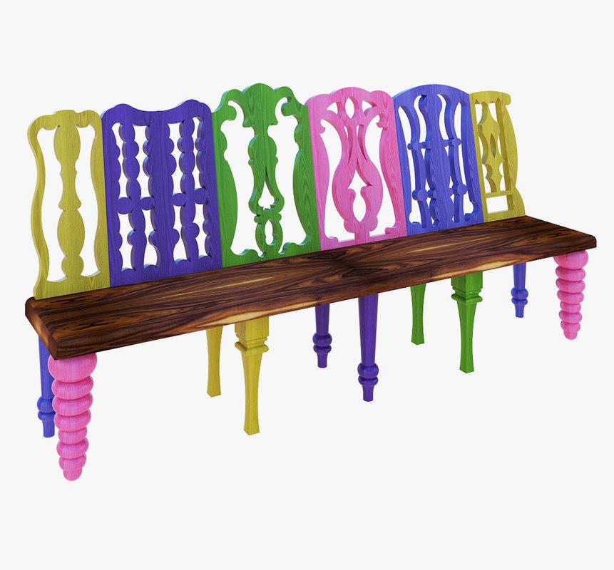 3D beautiful wooden bench model