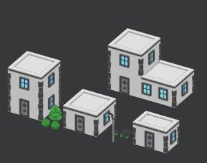 3D set town