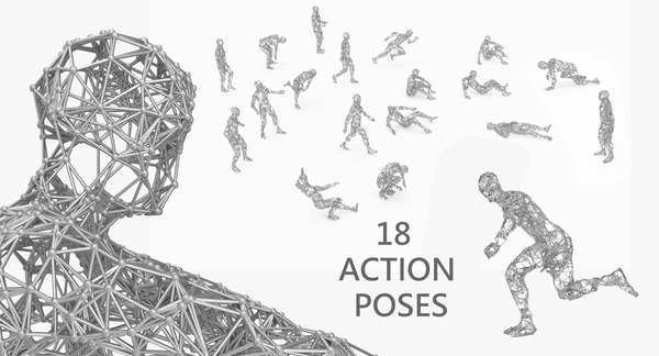 3D people poses abstract walking model