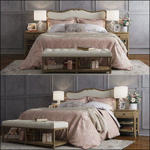 pottery barn claremont bed 3D model