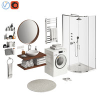 3D model bathroom set