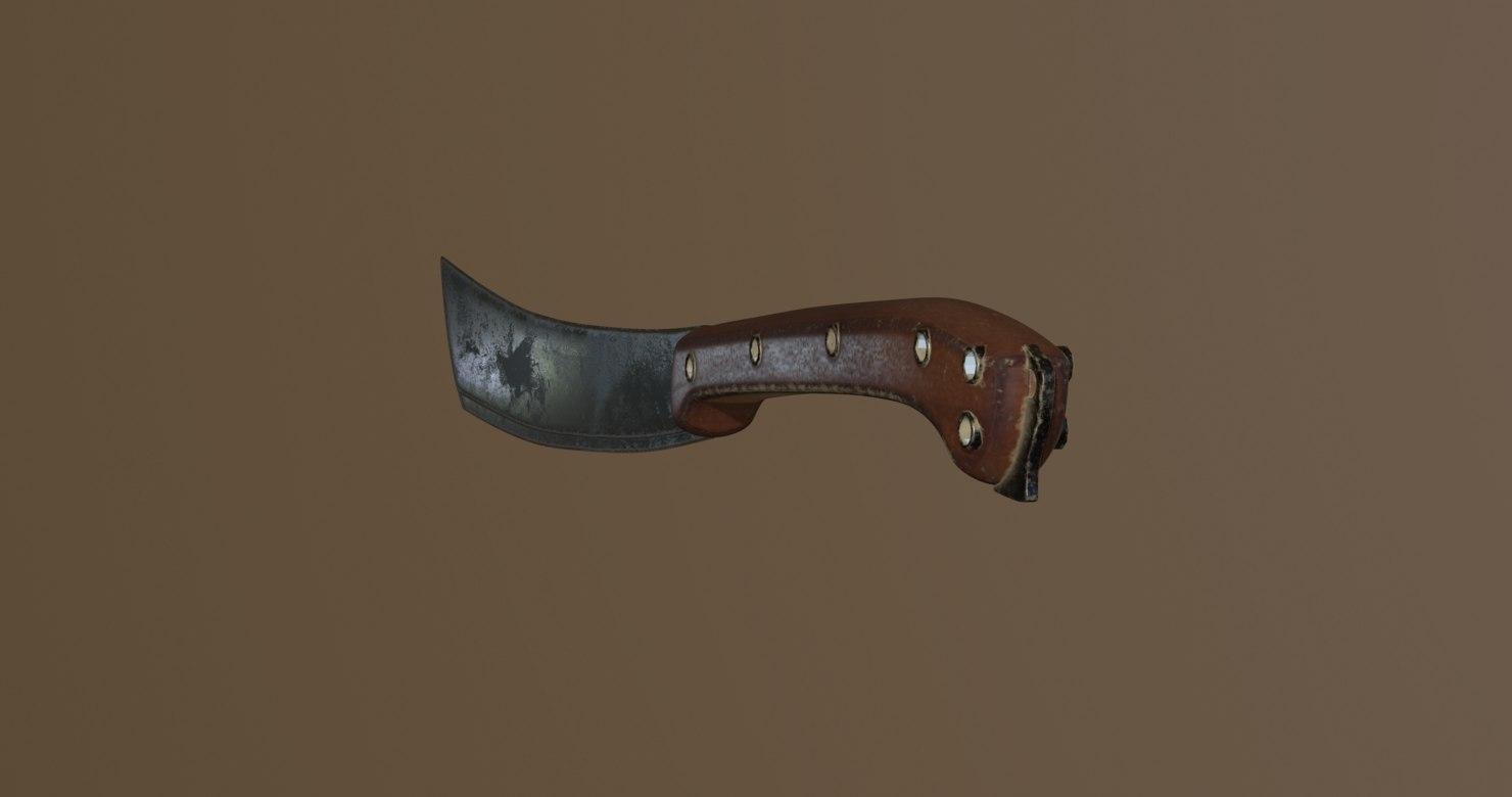 machete melee weapon 3D model